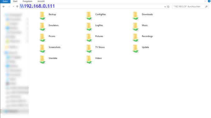 Dateiexploreransicht für den Raspberry Pi mit LibreELEC.